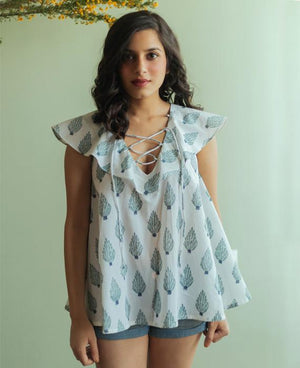 White and Teal Hand Block Printed Top - Mogra Designs