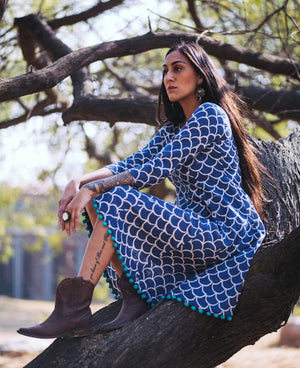 Block Printed Fit and Flare Dress with Handmade Pompoms - Mogra Designs