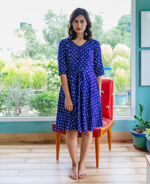 Handcrafted Bandhani Fit & Flare Dress - Mogra Designs