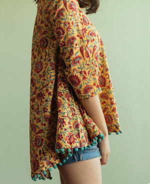 Block Printed Swing Top with Handmade Pompoms - Mogra Designs