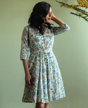 Pastel Floral Hand Block Printed Fit & Flare Dress - Mogra Designs