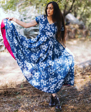 Hand Block Printed Floral Midi Dress in Indigo - Mogra Designs
