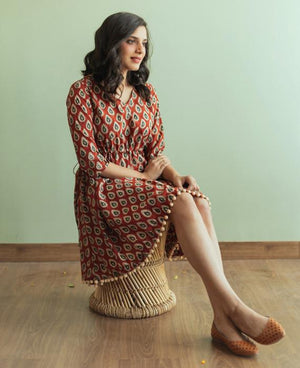 Hand Block Printed Drawstring Dress with Pompoms - Mogra Designs