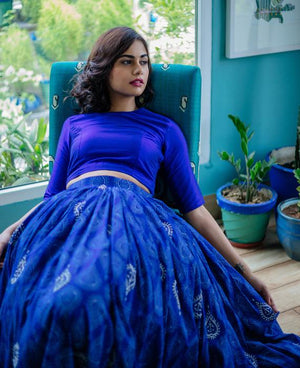 Blue Hand Block Printed & Hand Embroidered Cotton Lehenga Set - Mogra Designs