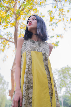 Bagru Print Organic Mustard Yellow Dress