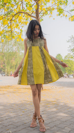 Organic cotton Yellow Mustard Dress