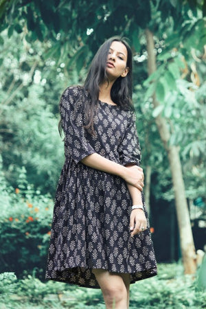 Hand Block Printed Cotton Black Dress