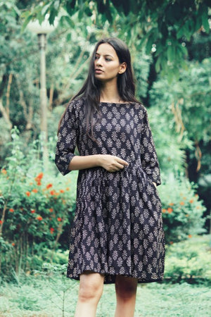 Hand Block Printed Fit & Flare Dress by Mogra Designs