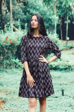 Hand Block Printed Cotton Fit & Flare Dress in Black