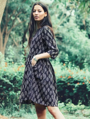 Hand Block Printed Fit & Flare Fern Dress