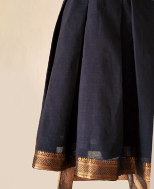 Mangalagiri Cotton Pleated Wrap Dress with Bronze Border - Mogra Designs