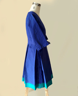 Blue Green Handwoven Mangalagiri Cotton Pleated Wrap Dress - Mogra Designs