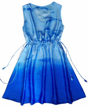 Blue Hand Tie-Dyed Ombre Kaftan Dress in Silk Satin - Mogra Designs