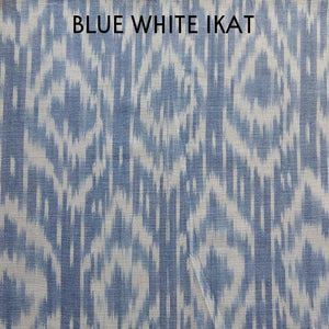 White and Blue Handwoven Ikat Fit and Flare Dress - Mogra Designs
