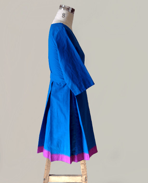 Blue and Pink Handwoven Mangalagiri Cotton Pleated Wrap Dress - Mogra Designs