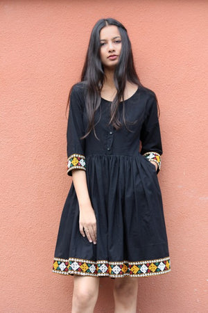Boho Black Banjara Border Dress