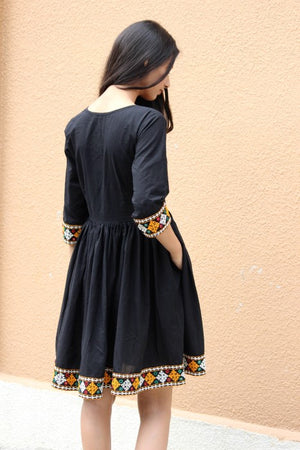 Boho Black Fit and Flare Dress with Mirror Work Embroidery