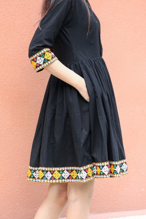 Boho Black Dress with Kutch Mirror work Embroidery