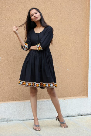 Boho Black Banjara Border Dress by Mogra Designs