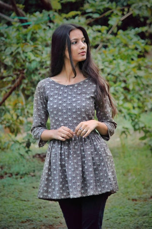 Charcoal Grey Cotton Top by Mogra Designs