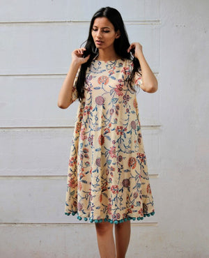 Cream Floral Hand Block Printed Swing Dress by Mogra Designs