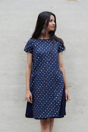 Denim Blue Handmade Bandhani Tiered Swing Dress