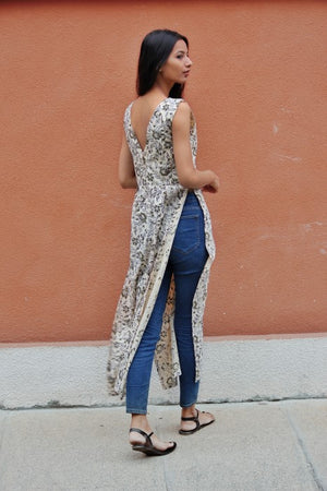 Hand Block Printed Cotton Maxi Top