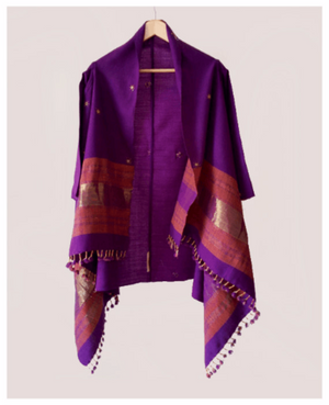 Handwoven and Embroidered Woolen Shawl Jacket in Purple - Mogra Designs