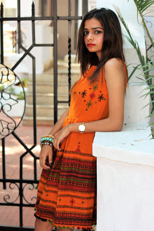 Handwoven and Hand Embroidered Fit & Flare Wool Dress in Orange - Mogra Designs