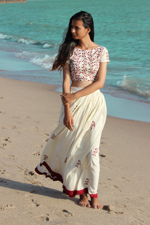 Floral Hand Embroidered Cotton Lehenga in Ivory By Mogra Designs