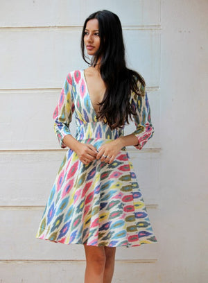 Handwoven Ikat V Neck Fit and Flare Dress