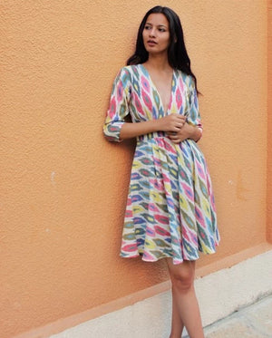 Handwoven Ikat Fit & Flare Dress by Mogra Designs