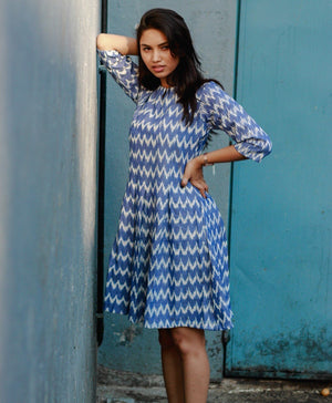 Handwoven Cotton Ikat Pleated Dress - Mogra Designs