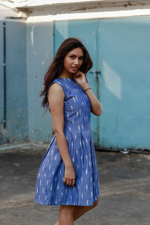 Handwoven Ikat Sleeveless Pleated Dress - Mogra Designs