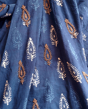 Indigo Hand Block Printed Embroidered Lehenga in Cotton - Mogra Designs