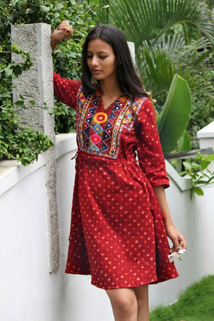 Mirror Work Drawstring Kaftan in Maroon Bandhani by Mogra Designs