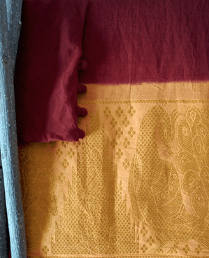 Maroon and Yellow Fit & Flare Madurai Saree Dress - Mogra Designs