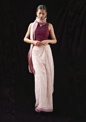Mauve Handwoven Fine Cotton Saree