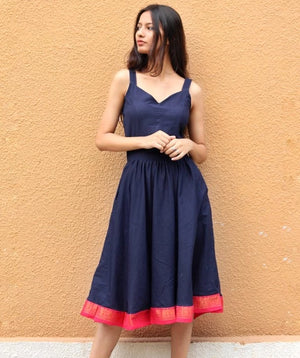 Vintage Style Navy Blue Sundress with Sari Border by Mogra Designs