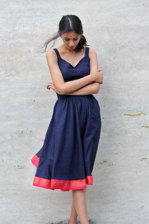 Navy Blue Sundress with Sari Border by Mogra Designs