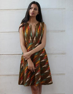 Ochre Handwoven Ikat Fit and Flare Dress by Mogra Designs