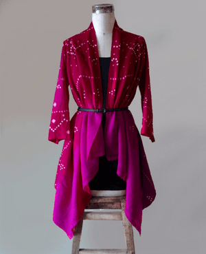 Pink Handwoven and Embroidered Bandhani Tribal Shawl Jacket in Wool - Mogra Designs