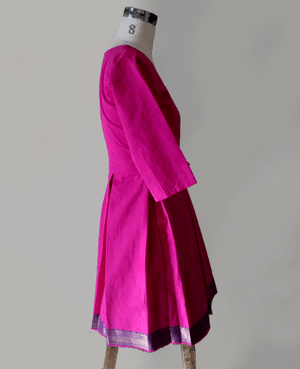 Pink Mangalagiri Cotton Pleated Wrap Dress with Zari Border - Mogra Designs