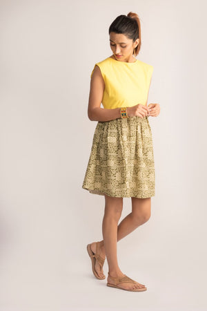 Mustard yellow A-line dress with Bagru prints by TAMASQ