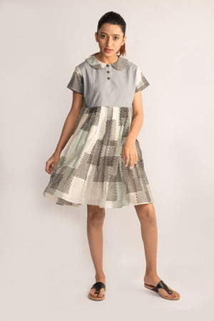 Grey A-line Ikat dress with peter pan collar by TAMASQ