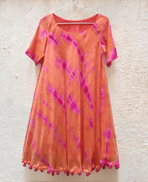 Tie Dye Swing Dress with Handmade Pompoms - Mogra Designs