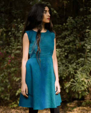 Handwoven Double Tone Sleeveless Fit and Flare Cotton Dress - Mogra Designs