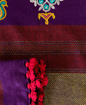 Violet Purple Handwoven and Hand Embroidered Pleated Light Wool Dress - Mogra Designs