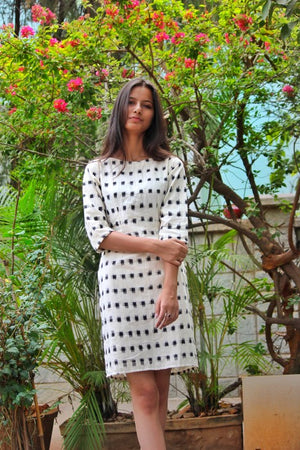 Handwoven Ikat Pencil Dress in White and Black by Mogra Designs