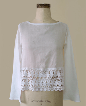 White Mulmul Cotton and Lace Short Boho Top - Mogra Designs